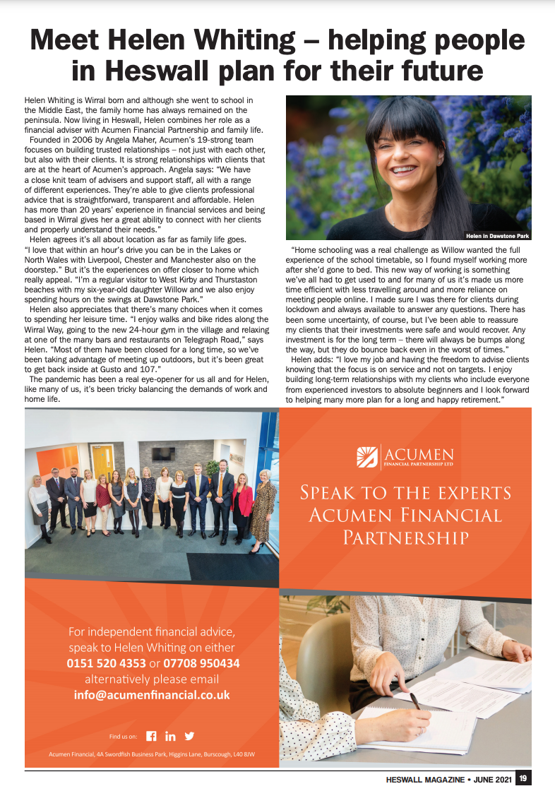 Helen to appear in Heswell Magazine